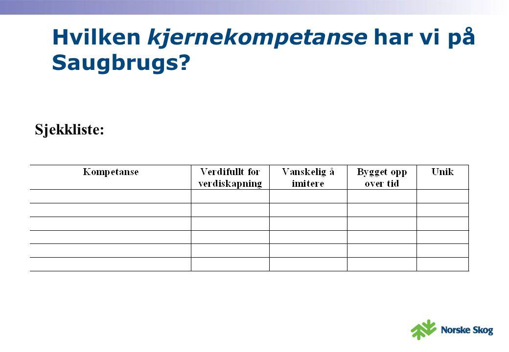 Hvilken kjernekompetanse har vi på Saugbrugs? Sjekkliste: