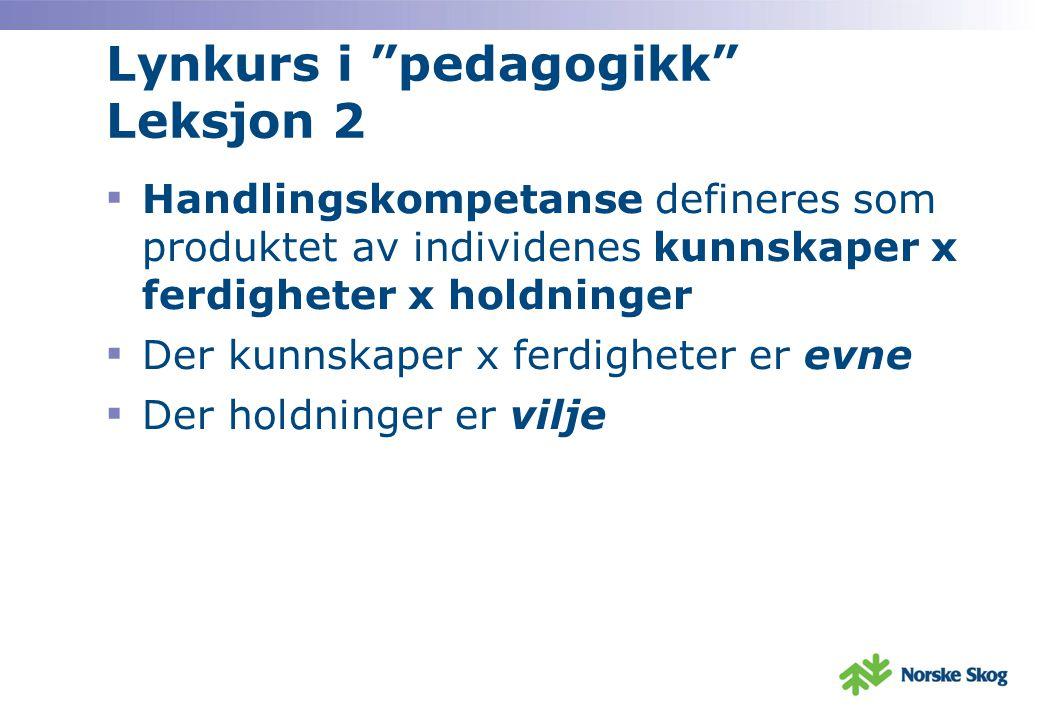 Lynkurs i pedagogikk Leksjon 2 ▪ Handlingskompetanse defineres som produktet av individenes kunnskaper x ferdigheter x holdninger ▪ Der kunnskaper x ferdigheter er evne ▪ Der holdninger er vilje