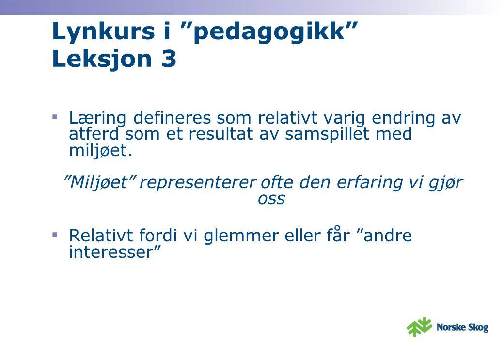 Lynkurs i pedagogikk Leksjon 3 ▪ Læring defineres som relativt varig endring av atferd som et resultat av samspillet med miljøet.