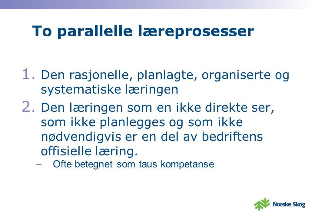 To parallelle læreprosesser 1.Den rasjonelle, planlagte, organiserte og systematiske læringen 2.