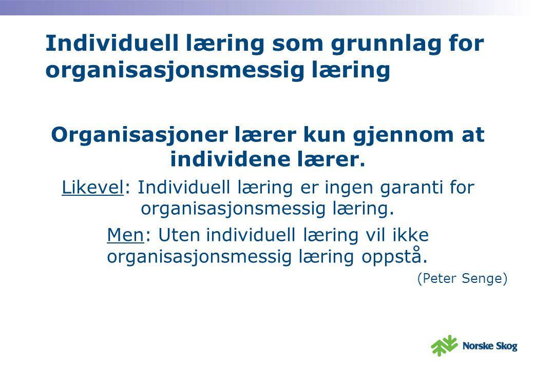 Individuell læring som grunnlag for organisasjonsmessig læring Organisasjoner lærer kun gjennom at individene lærer.