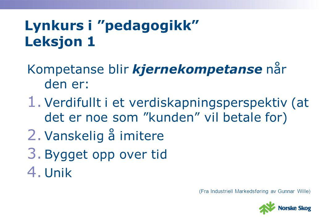Lynkurs i pedagogikk Leksjon 1 Kompetanse blir kjernekompetanse når den er: 1.