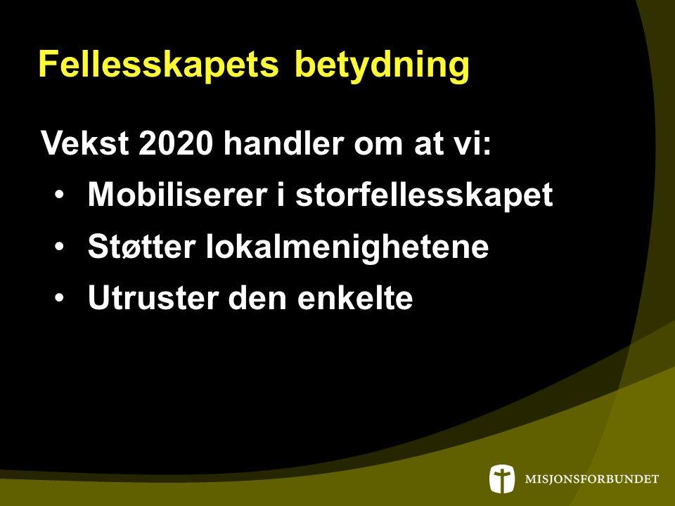 Fellesskapets betydning Vekst 2020 handler om at vi: Mobiliserer i storfellesskapet Støtter lokalmenighetene Utruster den enkelte