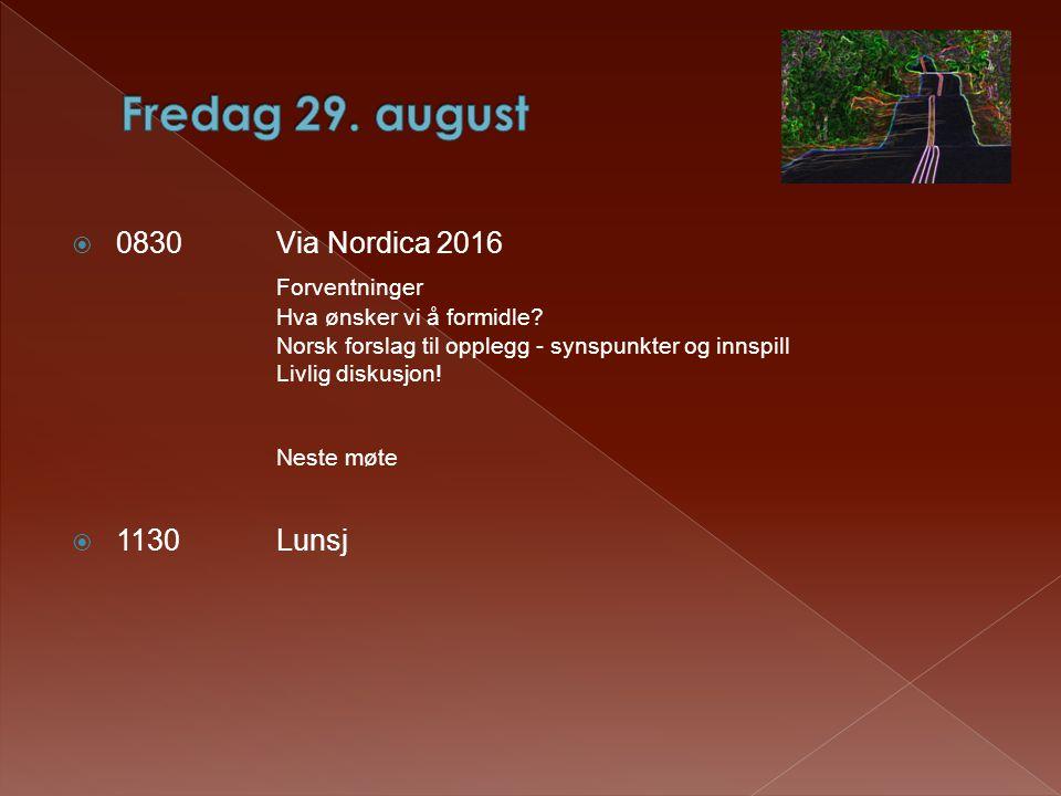  0830Via Nordica 2016 Forventninger Hva ønsker vi å formidle.