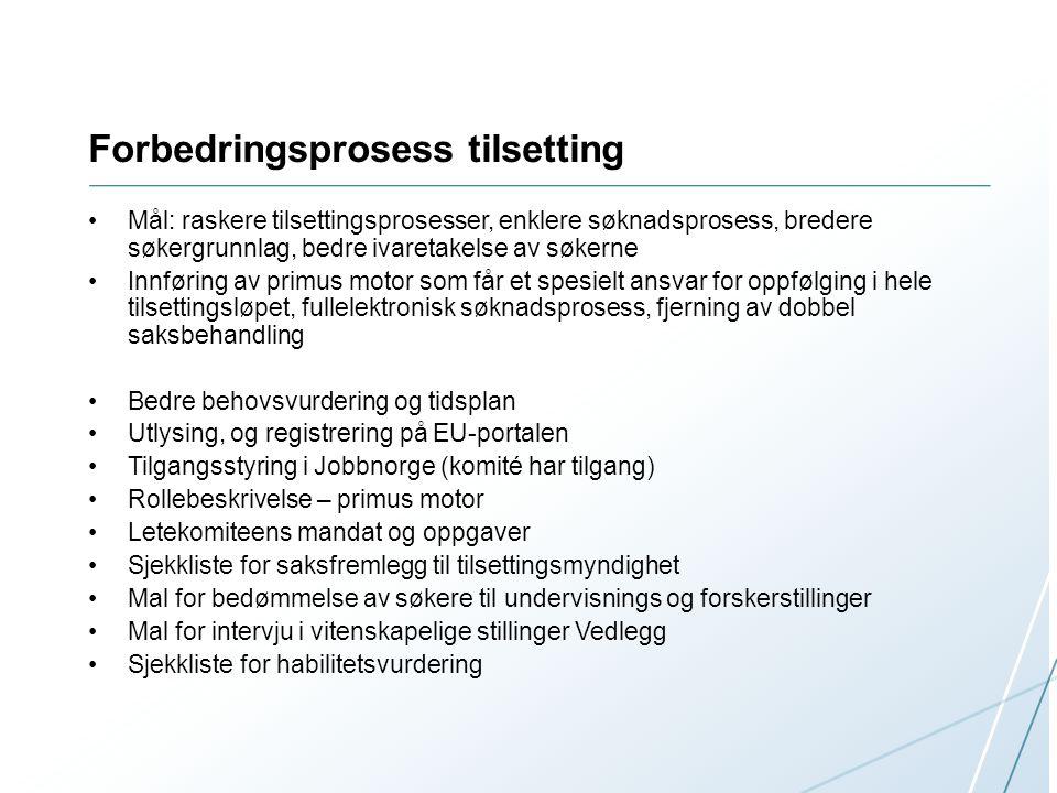 Forbedringsprosess tilsetting Mål: raskere tilsettingsprosesser, enklere søknadsprosess, bredere søkergrunnlag, bedre ivaretakelse av søkerne Innførin