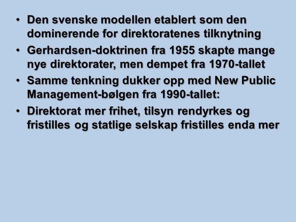 Den svenske modellen etablert som den dominerende for direktoratenes tilknytningDen svenske modellen etablert som den dominerende for direktoratenes t