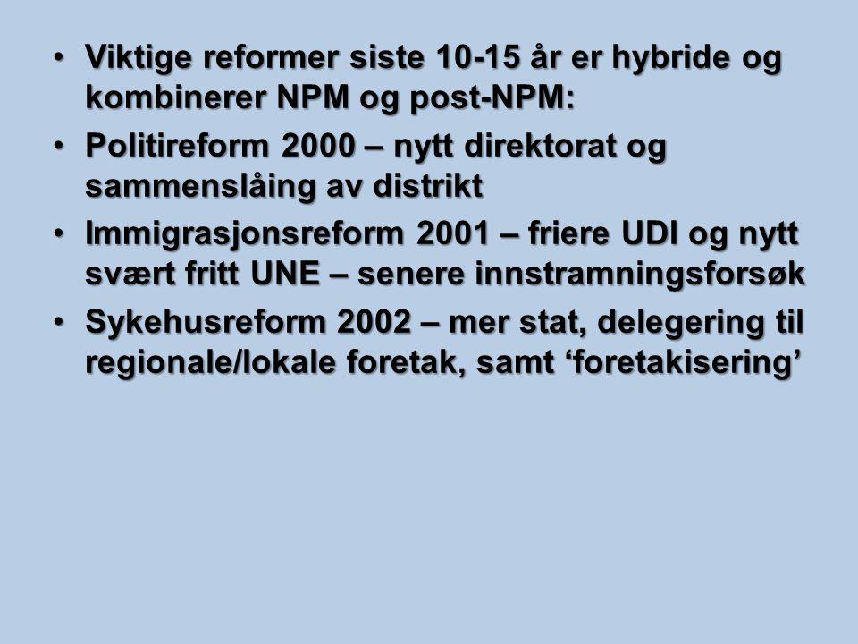 Viktige reformer siste 10-15 år er hybride og kombinerer NPM og post-NPM:Viktige reformer siste 10-15 år er hybride og kombinerer NPM og post-NPM: Pol