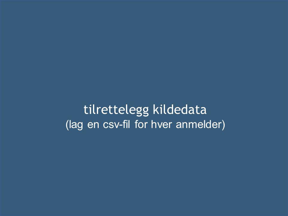 tilrettelegg kildedata (lag en csv-fil for hver anmelder)