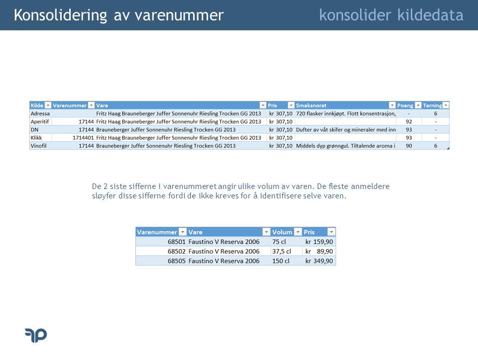 Konsolidering av varenummer konsolider kildedata De 2 siste sifferne i varenummeret angir ulike volum av varen. De fleste anmeldere sløyfer disse siff