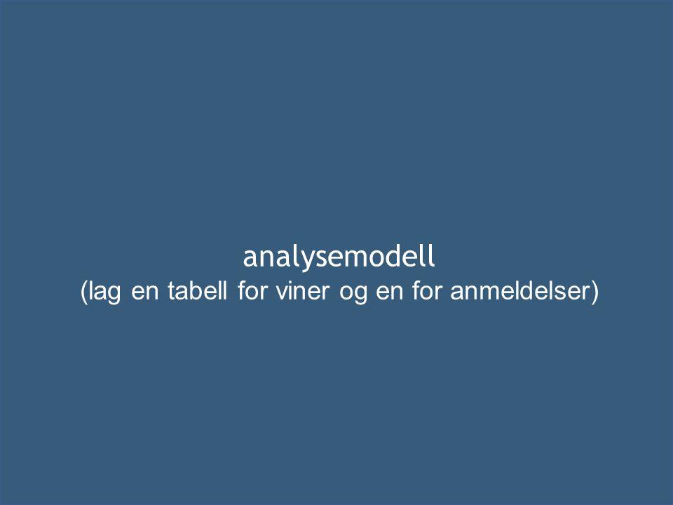 analysemodell (lag en tabell for viner og en for anmeldelser)