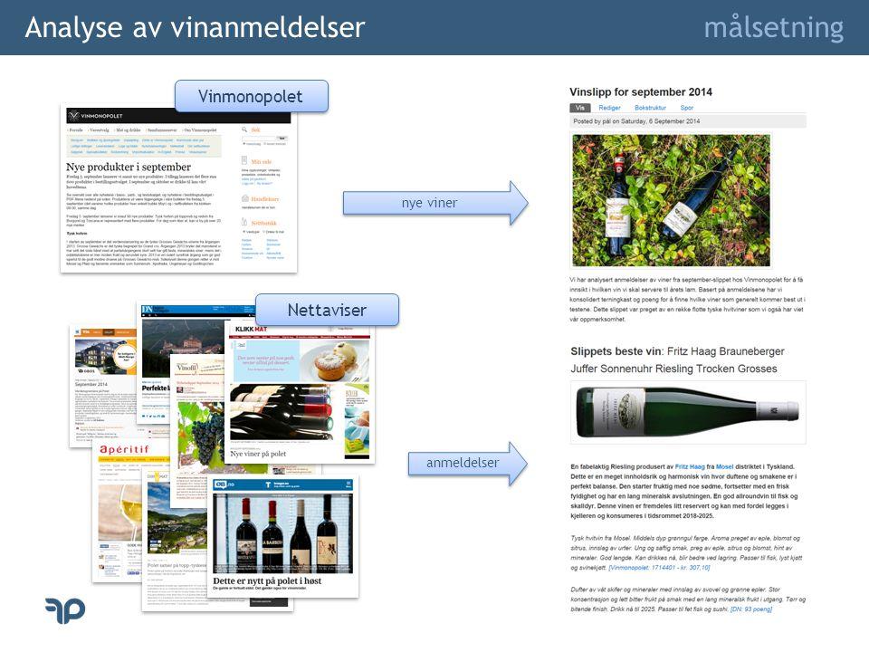 Analyse av vinanmeldelser målsetning Vinmonopolet Nettaviser nye viner anmeldelser
