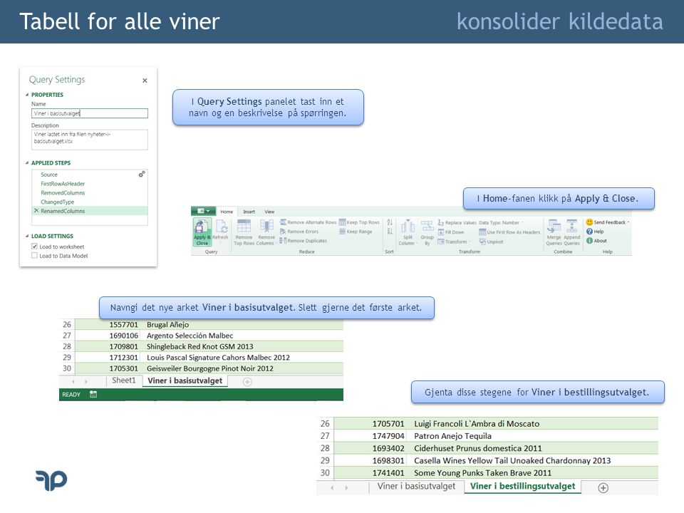Tabell for alle viner konsolider kildedata I Home-fanen klikk på Apply & Close. I Query Settings panelet tast inn et navn og en beskrivelse på spørrin