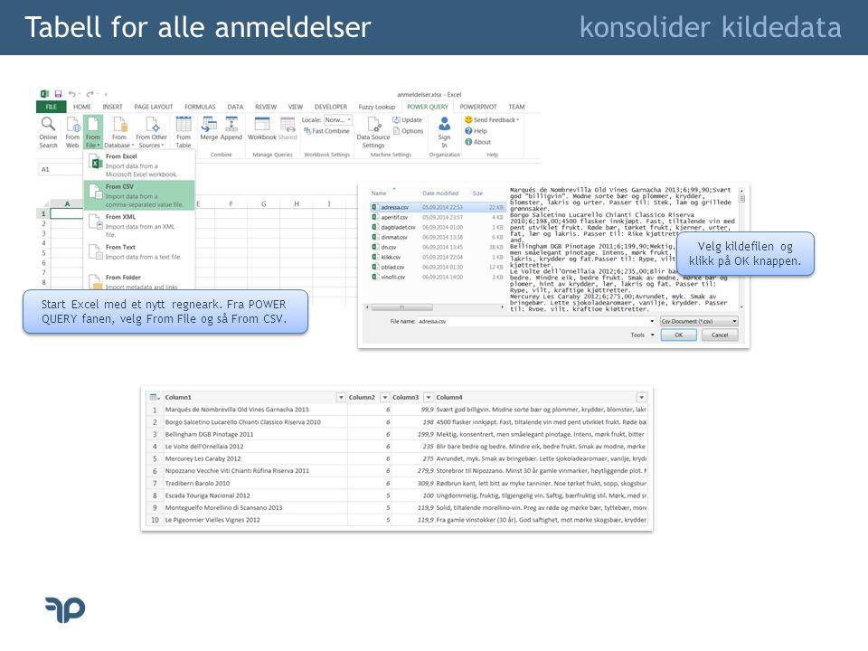 Tabell for alle anmeldelser konsolider kildedata Start Excel med et nytt regneark. Fra POWER QUERY fanen, velg From File og så From CSV. Velg kildefil