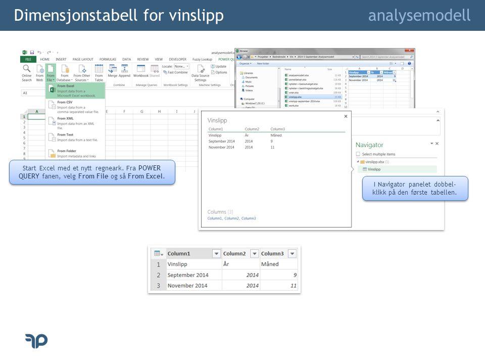 Dimensjonstabell for vinslipp analysemodell I Navigator panelet dobbel- klikk på den første tabellen. Start Excel med et nytt regneark. Fra POWER QUER