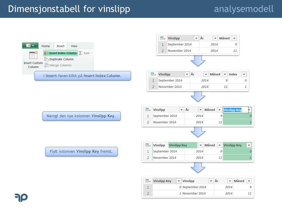 Dimensjonstabell for vinslipp analysemodell I Insert-fanen klikk på Insert Index Column.