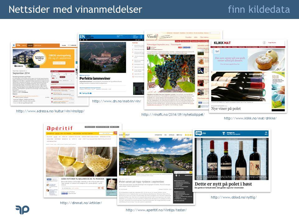 Nettsider med vinanmeldelser finn kildedata http://www.adressa.no/kultur/vin/vinslipp/ http://www.dn.no/matvin/vin/ http://www.aperitif.no/Vintips/tester/ http://dinmat.no/Artikler/ http://vinofil.no/2014/09/nyhetsslippet/ http://www.klikk.no/mat/drikke/ http://www.oblad.no/nyttig/