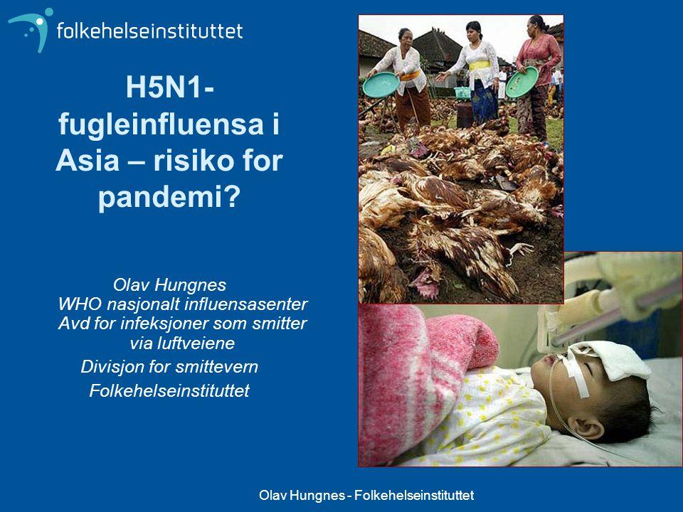 Olav Hungnes - Folkehelseinstituttet Pandemier og Influensapandemier Pandemi – definisjon: Epidemi som utbrer seg over et meget stort område og vanligvis affiserer en stor andel av befolkningen Influensa opptrer pandemisk hvert år.