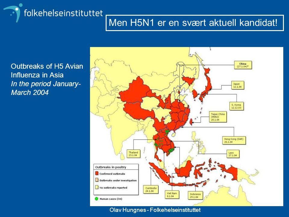 Olav Hungnes - Folkehelseinstituttet Outbreaks of H5 Avian Influenza in Asia In the period January- March 2004 Men H5N1 er en svært aktuell kandidat!