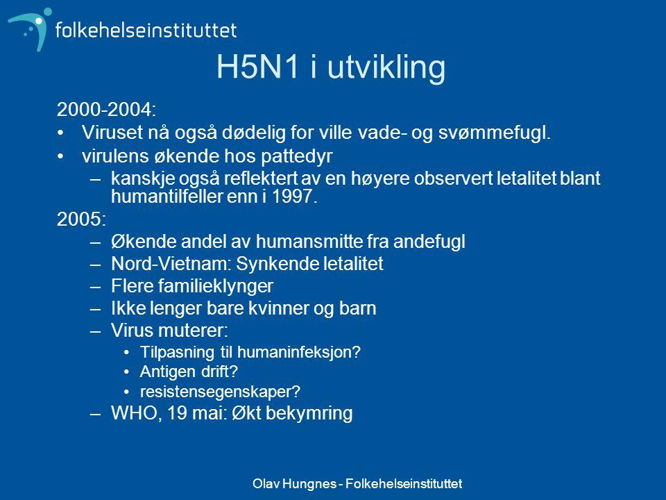 Olav Hungnes - Folkehelseinstituttet H5N1 i utvikling 2000-2004: Viruset nå også dødelig for ville vade- og svømmefugl. virulens økende hos pattedyr –