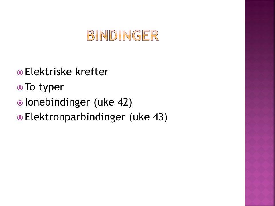  Elektriske krefter  To typer  Ionebindinger (uke 42)  Elektronparbindinger (uke 43)
