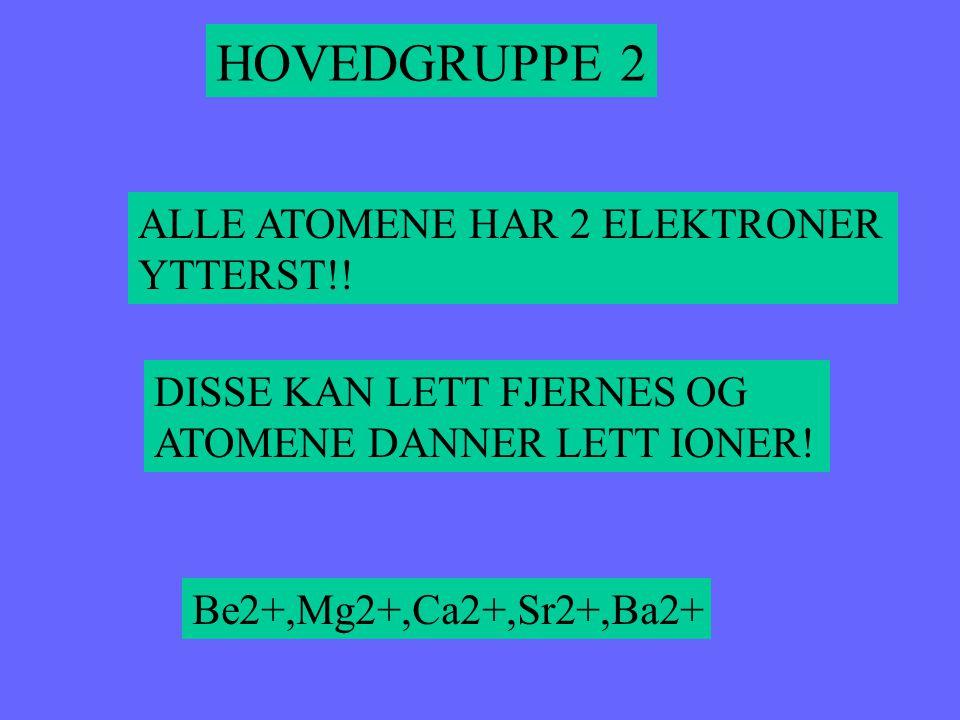 Be 4 Mg 12 Ca 20 Sr 38 Ba 56 HOVEDGRUPPE 2 Be har 4 elektroner og 2 ytterst Mg har 12 elektroner og 2 ytterst Ca har 20 elektroner og 2 ytterst Sr har 38 elektroner og 2 ytterst Ba har 56 elektroner og 2 ytterst