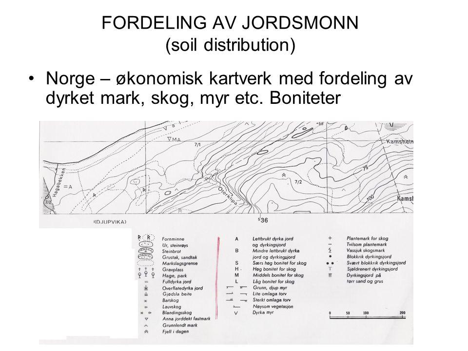 FORDELING AV JORDSMONN (soil distribution) Norge – økonomisk kartverk med fordeling av dyrket mark, skog, myr etc. Boniteter