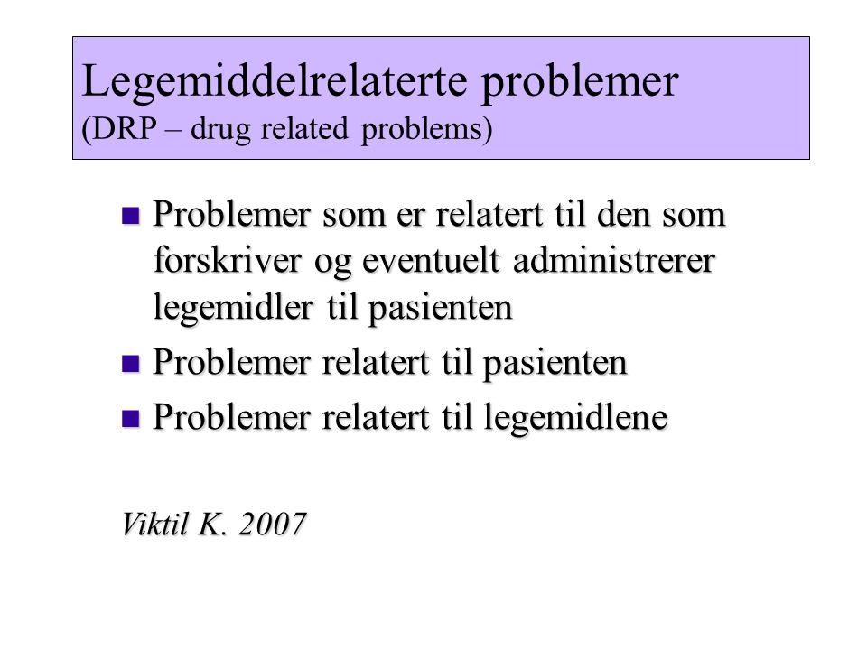 Legemiddelrelaterte problemer (DRP – drug related problems) Problemer som er relatert til den som forskriver og eventuelt administrerer legemidler til pasienten Problemer som er relatert til den som forskriver og eventuelt administrerer legemidler til pasienten Problemer relatert til pasienten Problemer relatert til pasienten Problemer relatert til legemidlene Problemer relatert til legemidlene Viktil K.