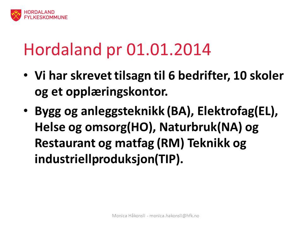 Hordaland pr 01.01.2014 Vi har skrevet tilsagn til 6 bedrifter, 10 skoler og et opplæringskontor.