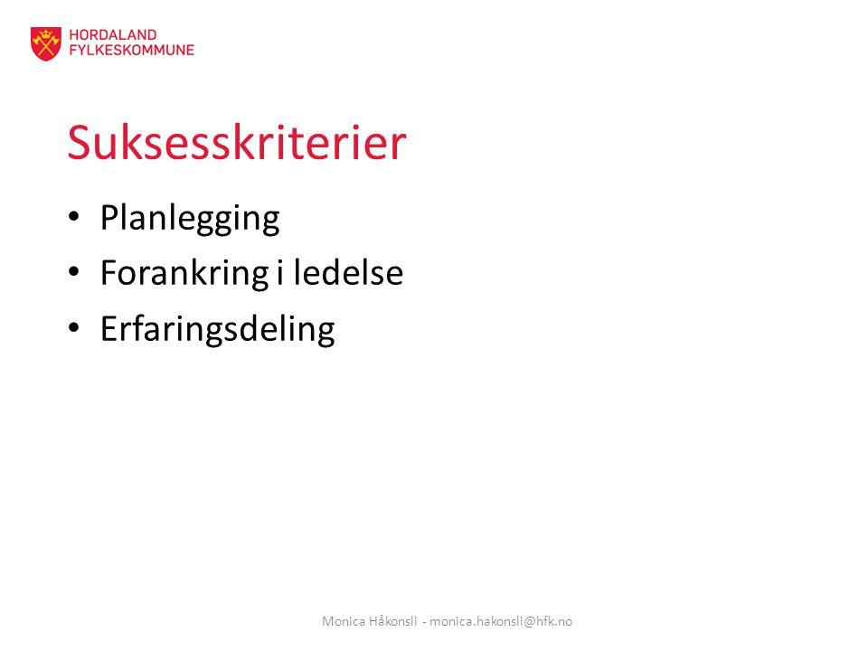 Suksesskriterier Planlegging Forankring i ledelse Erfaringsdeling Monica Håkonsli - monica.hakonsli@hfk.no