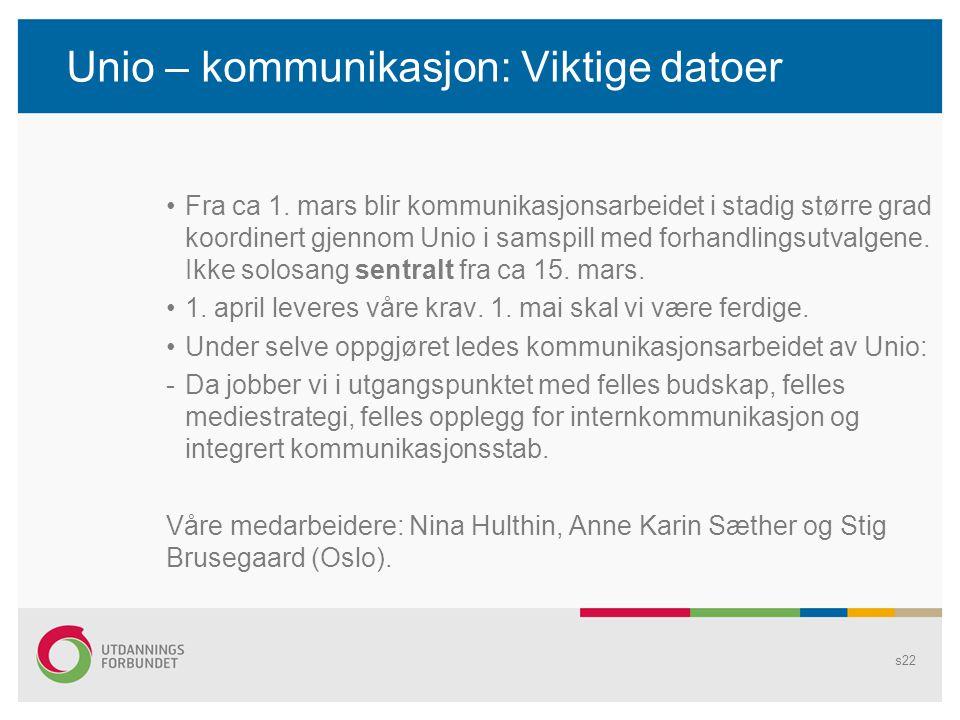 Unio – kommunikasjon: Viktige datoer Fra ca 1. mars blir kommunikasjonsarbeidet i stadig større grad koordinert gjennom Unio i samspill med forhandlin