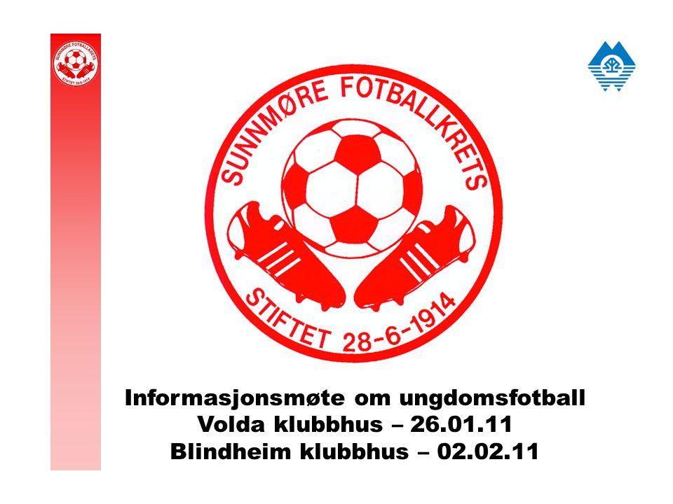Informasjonsmøte om ungdomsfotball Volda klubbhus – 26.01.11 Blindheim klubbhus – 02.02.11