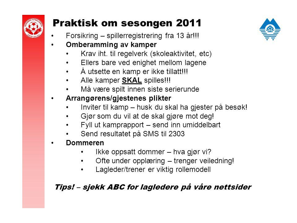 Praktisk om sesongen 2011 Forsikring – spillerregistrering fra 13 år!!.