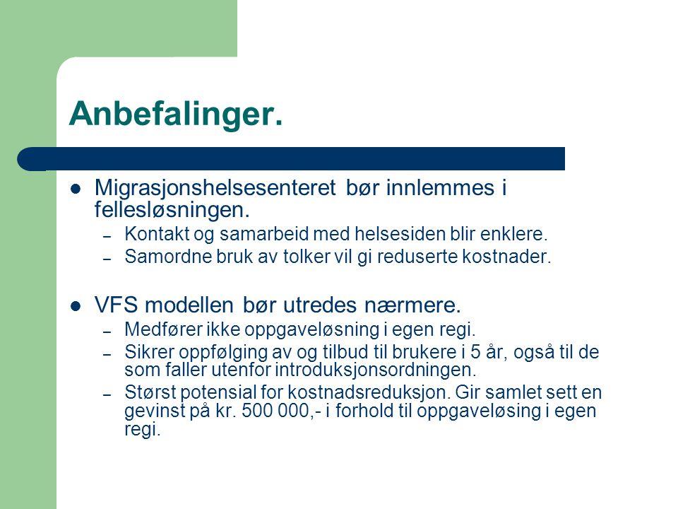 Anbefalinger. Migrasjonshelsesenteret bør innlemmes i fellesløsningen.