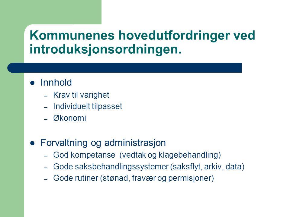 Kommunenes hovedutfordringer ved introduksjonsordningen.