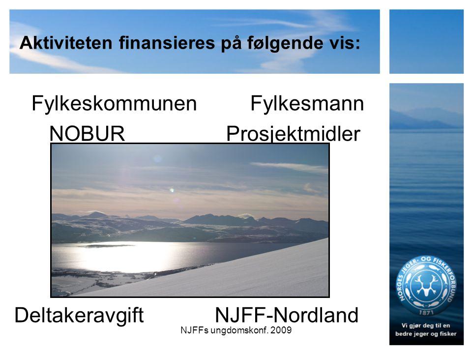 Aktiviteten finansieres på følgende vis: FylkeskommunenFylkesmann NOBUR Prosjektmidler Deltakeravgift NJFF-Nordland NJFFs ungdomskonf.