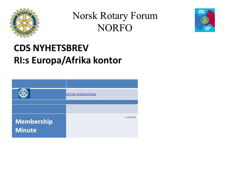 Norsk Rotary Forum NORFO CDS NYHETSBREV RI:s Europa/Afrika kontor ROTARY INTERNATIONAL Membership Minute June 2012