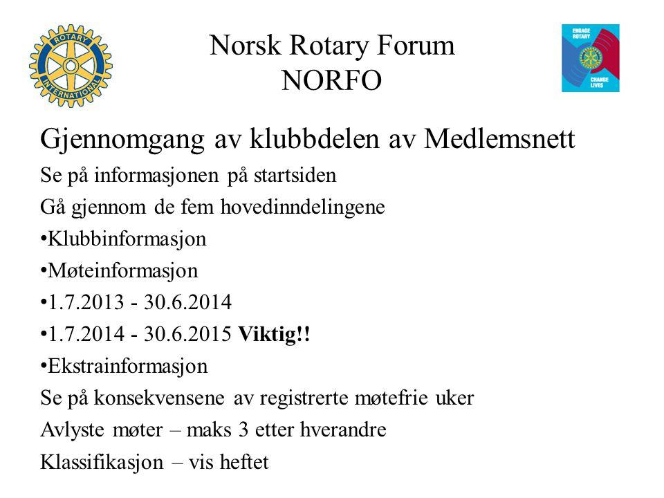 Norsk Rotary Forum NORFO Repetisjon av reglene for medlemskap Reglene er hentet ut fra Manual of Procedure 2010 (endres etter Council on Legislation (COL) hvert 3.