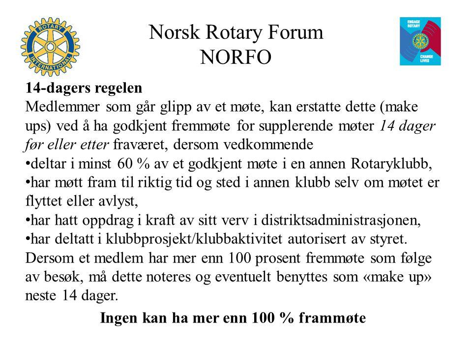 Norsk Rotary Forum NORFO 14-dagers regelen Medlemmer som går glipp av et møte, kan erstatte dette (make ups) ved å ha godkjent fremmøte for supplerende møter 14 dager før eller etter fraværet, dersom vedkommende deltar i minst 60 % av et godkjent møte i en annen Rotaryklubb, har møtt fram til riktig tid og sted i annen klubb selv om møtet er flyttet eller avlyst, har hatt oppdrag i kraft av sitt verv i distriktsadministrasjonen, har deltatt i klubbprosjekt/klubbaktivitet autorisert av styret.