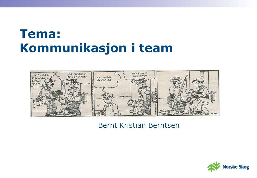 Tema: Kommunikasjon i team Bernt Kristian Berntsen