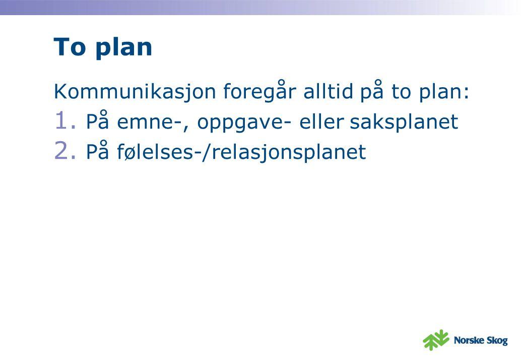 To plan Kommunikasjon foregår alltid på to plan: 1. På emne-, oppgave- eller saksplanet 2. På følelses-/relasjonsplanet