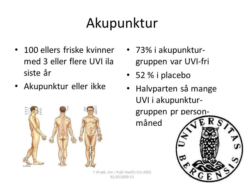 Akupunktur 100 ellers friske kvinner med 3 eller flere UVI ila siste år Akupunktur eller ikke 73% i akupunktur- gruppen var UVI-fri 52 % i placebo Hal