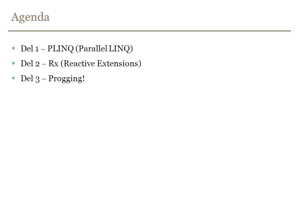 Agenda  Del 1  PLINQ (Parallel LINQ)  Del 2  Rx (Reactive Extensions)  Del 3  Progging!