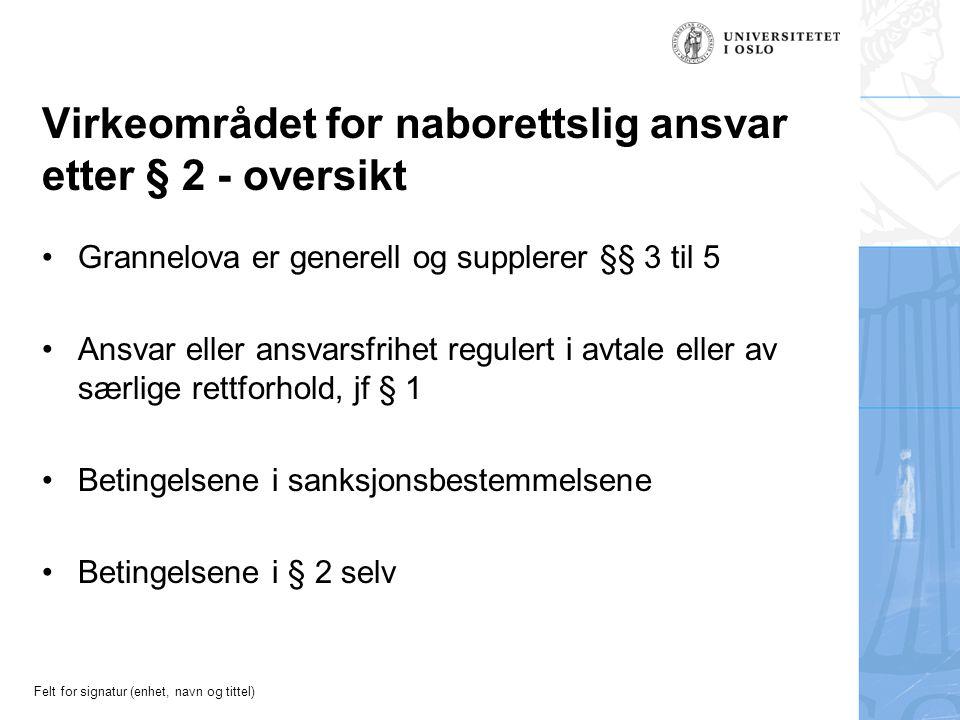 Felt for signatur (enhet, navn og tittel) Virkeområdet for naborettslig ansvar etter § 2 - oversikt Grannelova er generell og supplerer §§ 3 til 5 Ans