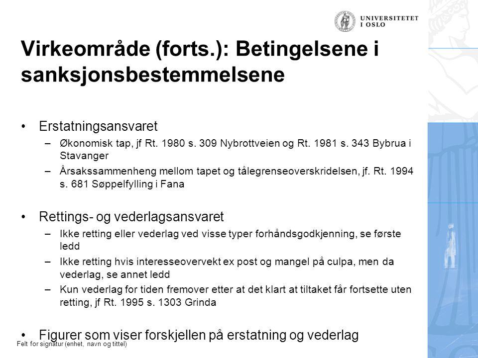Felt for signatur (enhet, navn og tittel) Virkeområde (forts.): Betingelsene i sanksjonsbestemmelsene Erstatningsansvaret –Økonomisk tap, jf Rt.