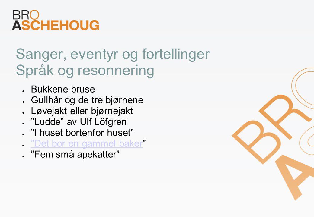 """Sanger, eventyr og fortellinger Språk og resonnering Bukkene bruse Gullhår og de tre bjørnene Løvejakt eller bjørnejakt """"Ludde"""" av Ulf Löfgren """"I huse"""