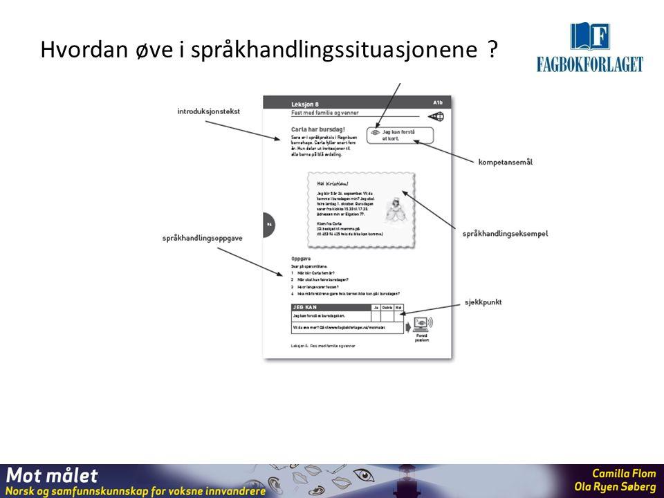 Hvordan øve i språkhandlingssituasjonene