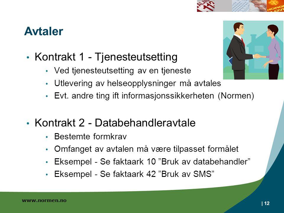 www.normen.no Avtaler Kontrakt 1 - Tjenesteutsetting Ved tjenesteutsetting av en tjeneste Utlevering av helseopplysninger må avtales Evt.