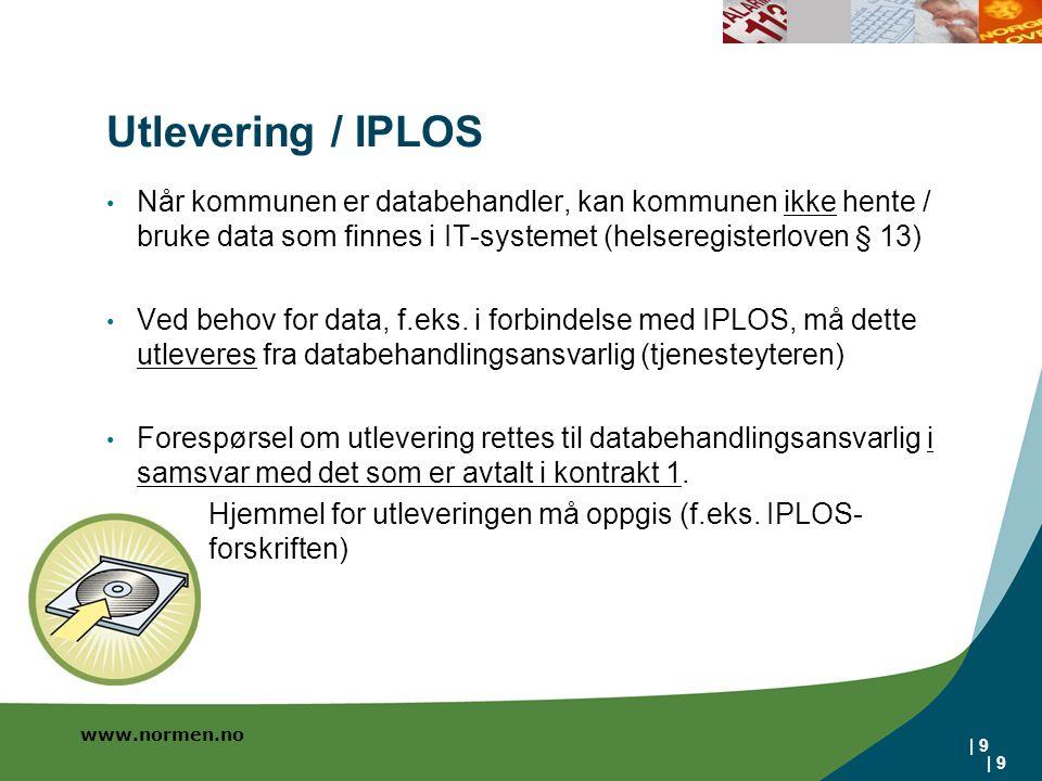 www.normen.no | 9 Utlevering / IPLOS Når kommunen er databehandler, kan kommunen ikke hente / bruke data som finnes i IT-systemet (helseregisterloven § 13) Ved behov for data, f.eks.