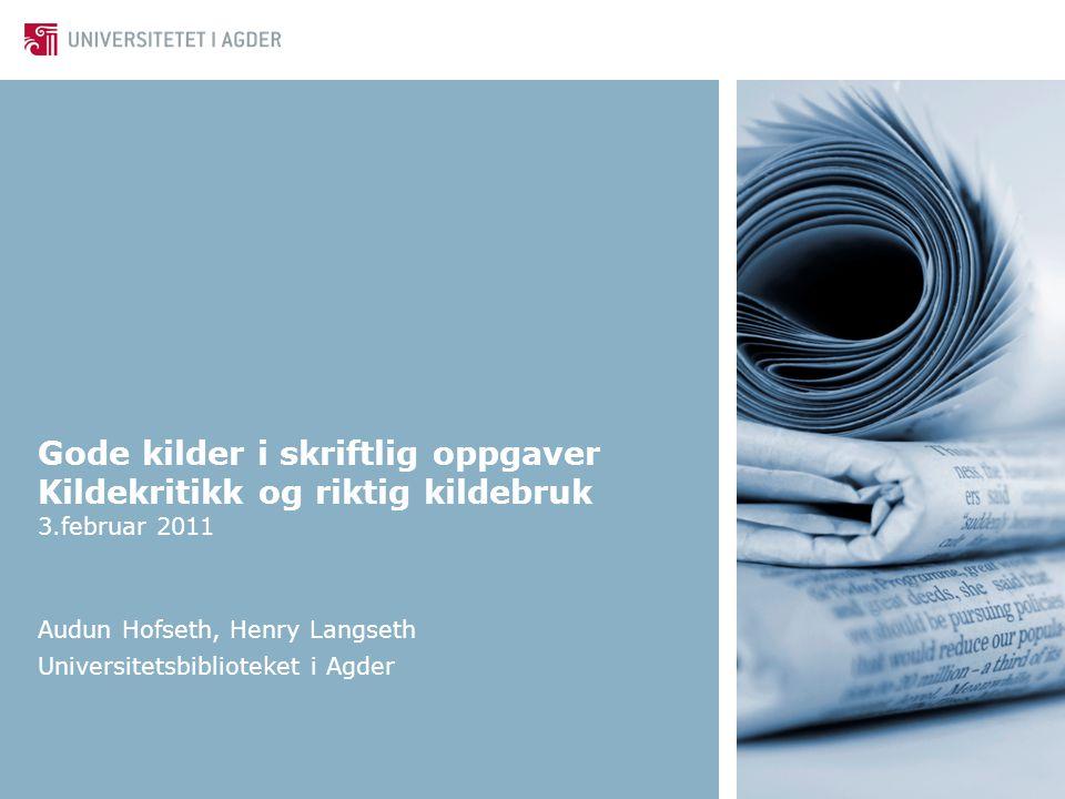 Universitetsbiblioteket i Agder22 Resymé I denne boken gir Spangen (2007) nødvendig kunnskap om de mest sentrale aspektene ved oppgaveskriving.