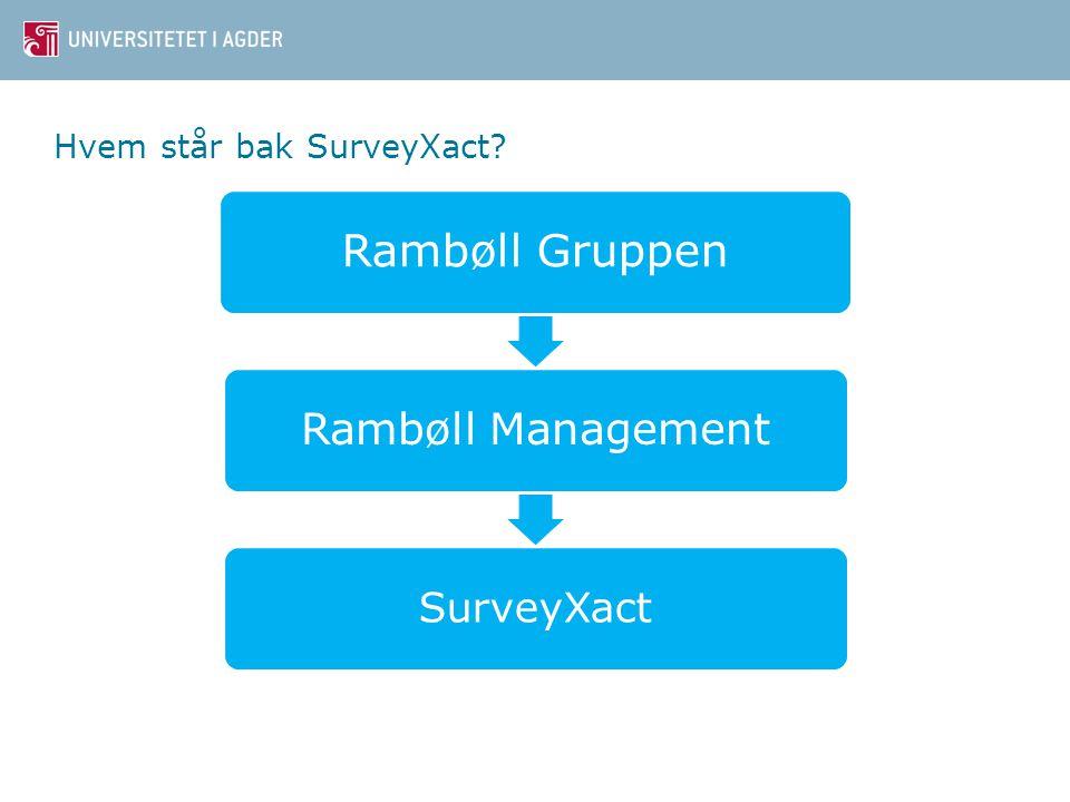 Hvem står bak SurveyXact? Rambøll Gruppen Rambøll Management SurveyXact Content slide